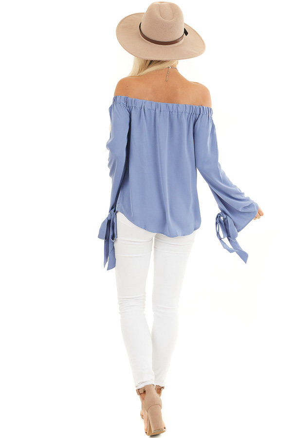 Dusty Blue Off Shoulder Woven Top with Sleeve Ties back full body