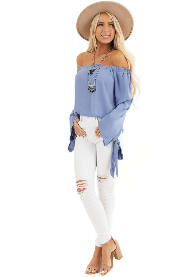 Dusty Blue Off Shoulder Woven Top with Sleeve Ties front full body