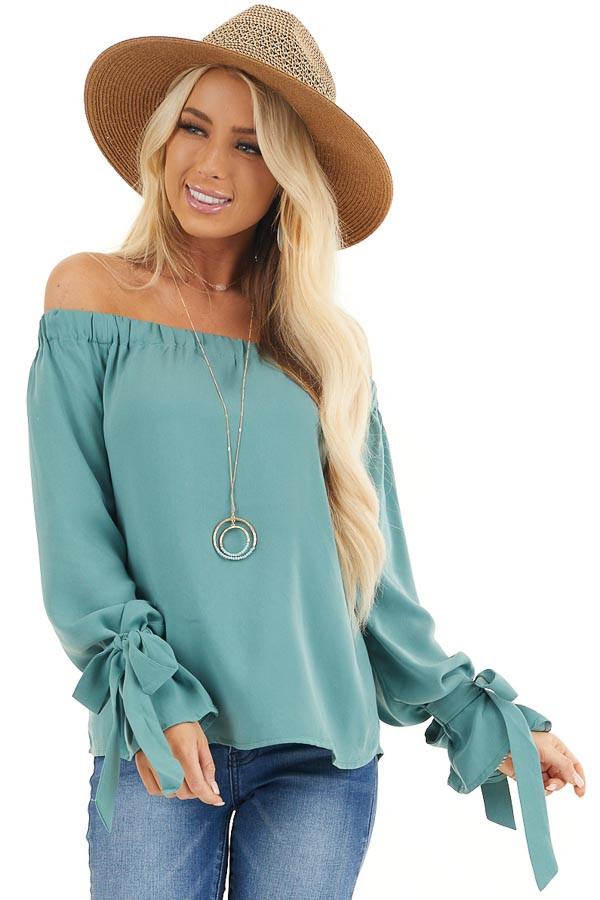 Jungle Green Off Shoulder Woven Top with Sleeve Ties front close up