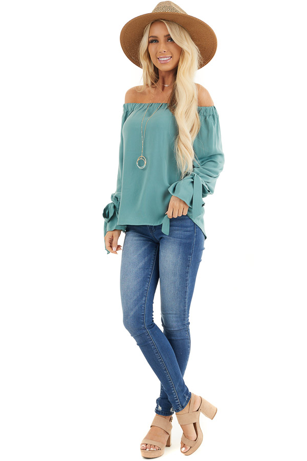 Jungle Green Off Shoulder Woven Top with Sleeve Ties front full body