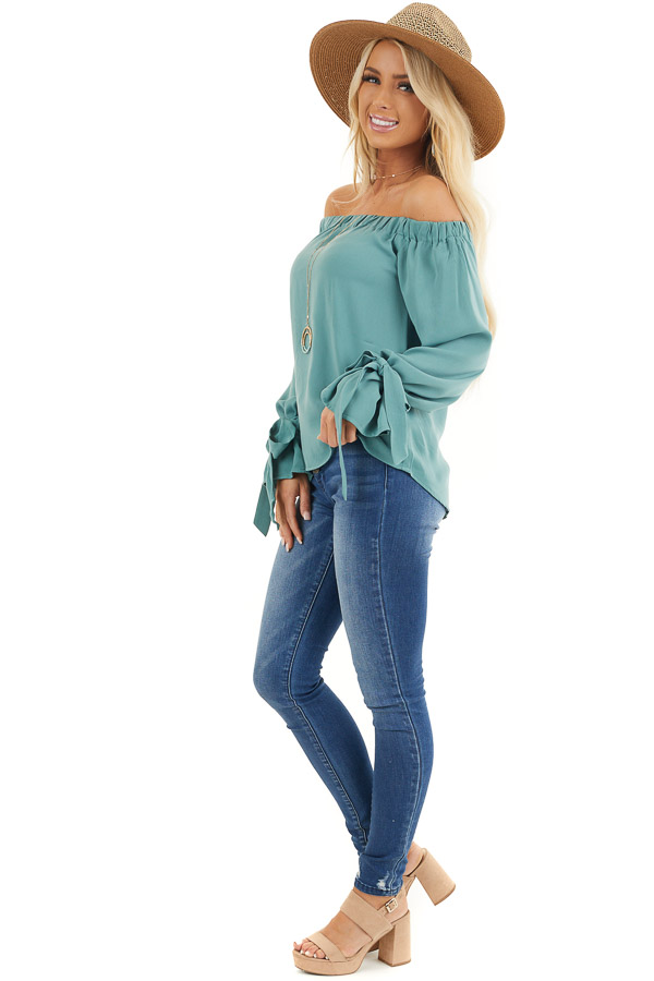 Jungle Green Off Shoulder Woven Top with Sleeve Ties side full body