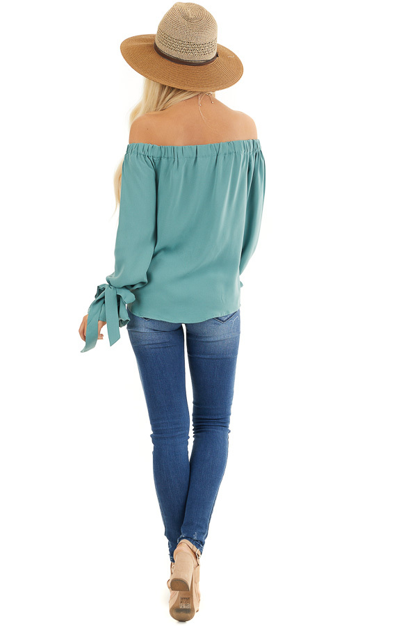 Jungle Green Off Shoulder Woven Top with Sleeve Ties back full body