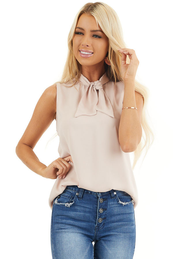 Dusty Blush Sleeveless Woven Tank Top with Neck Tie front close up