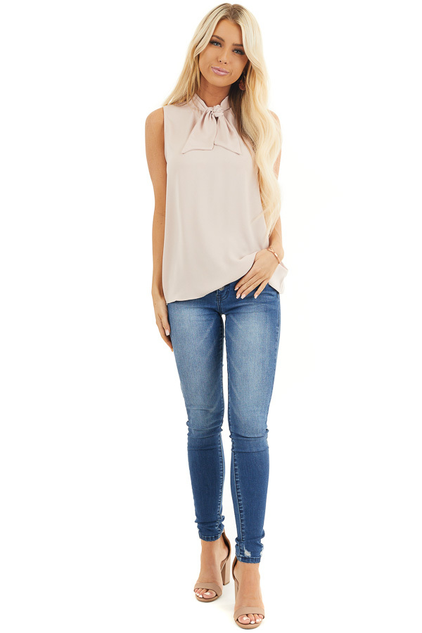 Dusty Blush Sleeveless Woven Tank Top with Neck Tie front full body