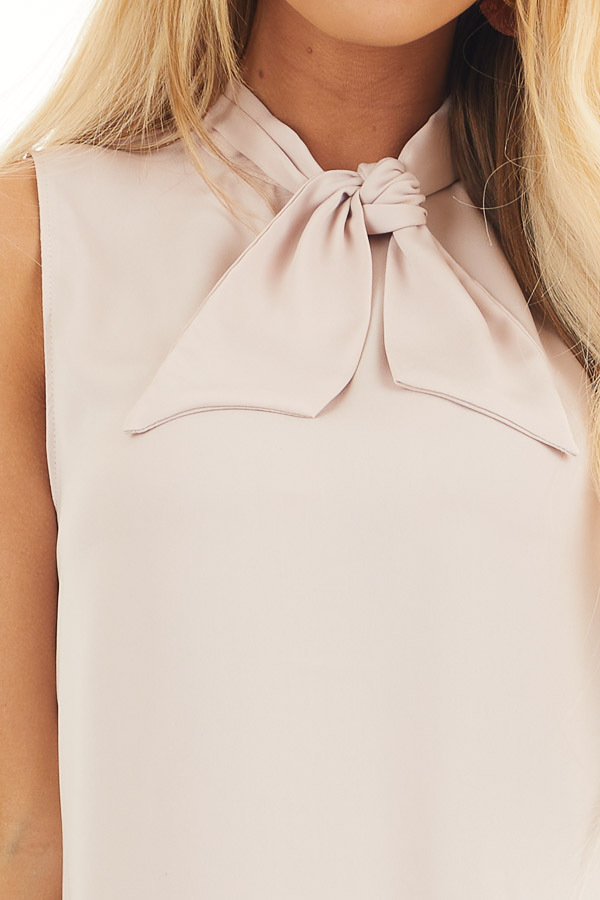 Dusty Blush Sleeveless Woven Tank Top with Neck Tie detail
