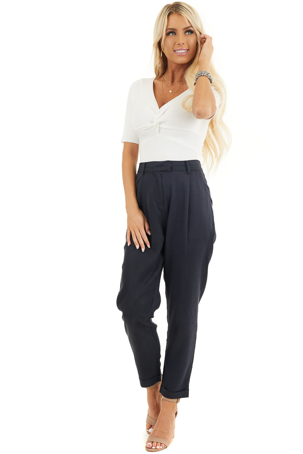 Deep Charcoal Dress Pants with Folded Hem and Pockets front full body