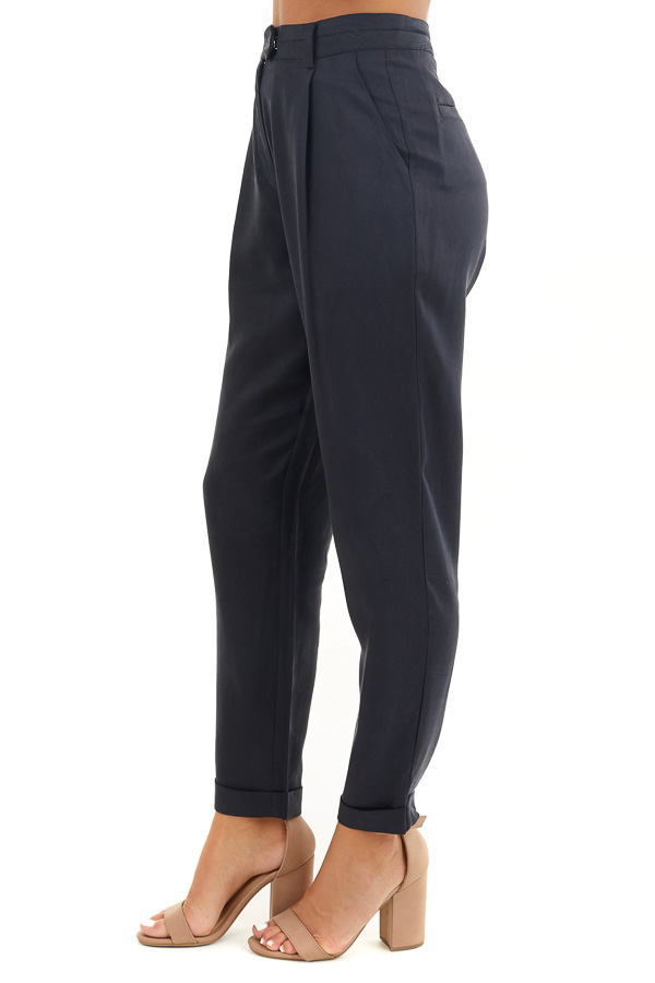 Deep Charcoal Dress Pants with Folded Hem and Pockets side view