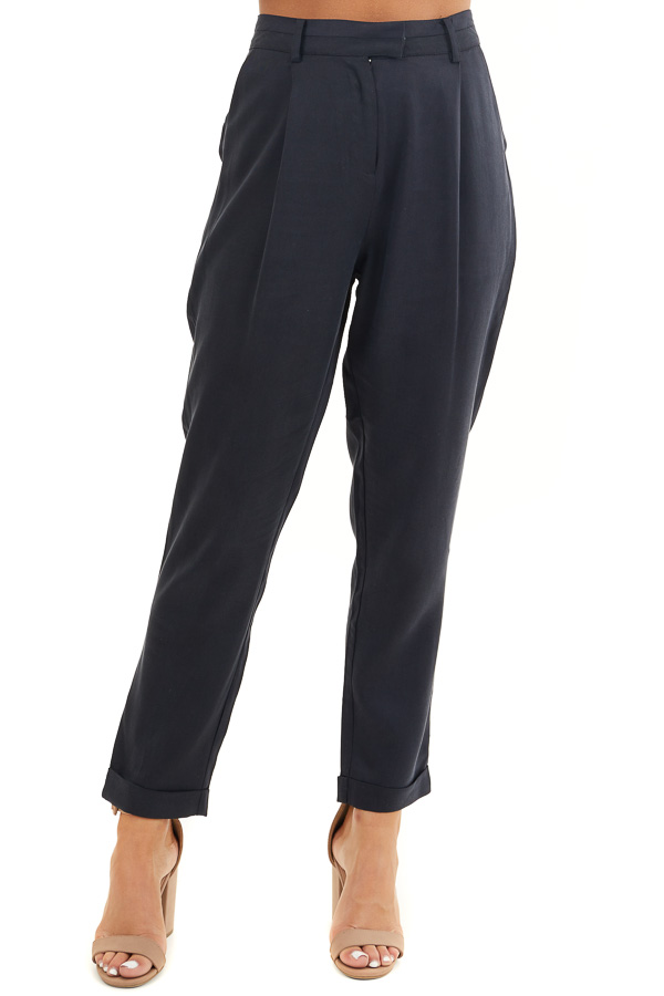 Deep Charcoal Dress Pants with Folded Hem and Pockets front view