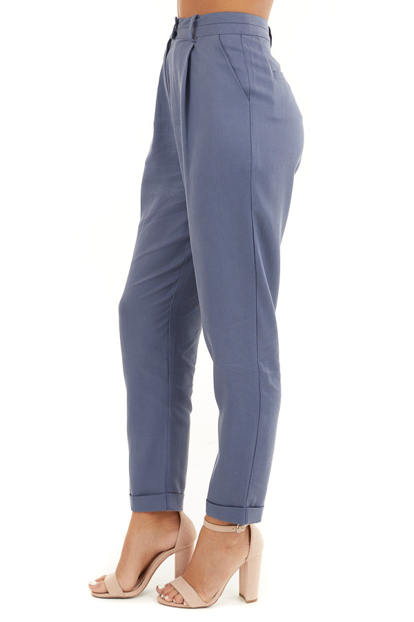 Dusty Blue Dress Pants with Folded Hem and Pockets side view
