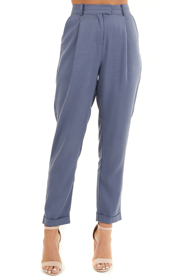 Dusty Blue Dress Pants with Folded Hem and Pockets front view