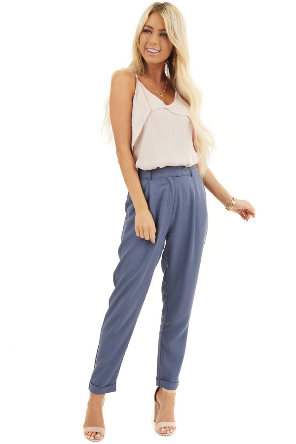 Dusty Blue Dress Pants with Folded Hem and Pockets front full body