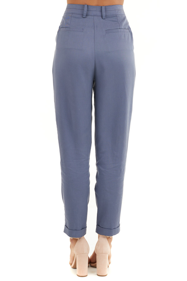 Dusty Blue Dress Pants with Folded Hem and Pockets back view