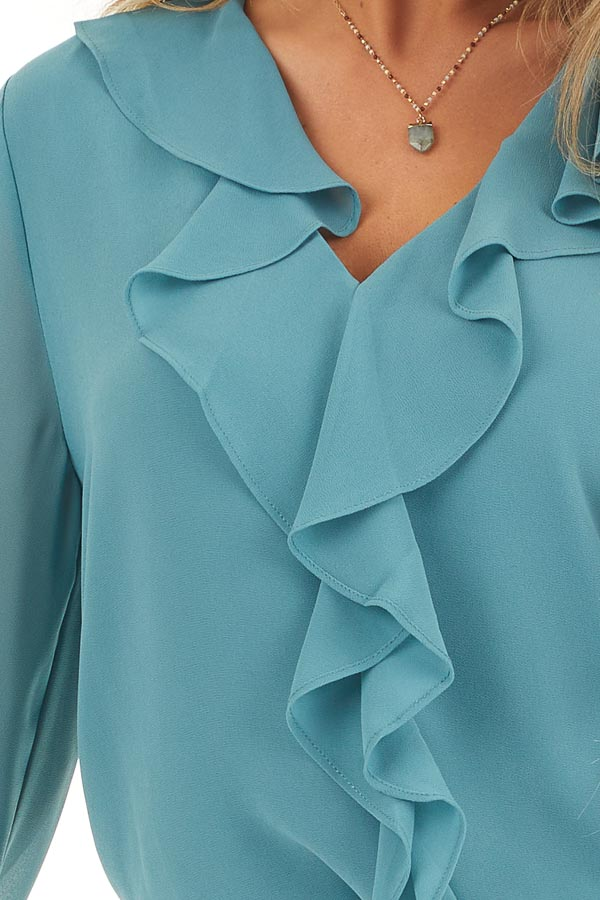 Dusty Ocean Long Flare Sleeve Blouse with Ruffle Details detail