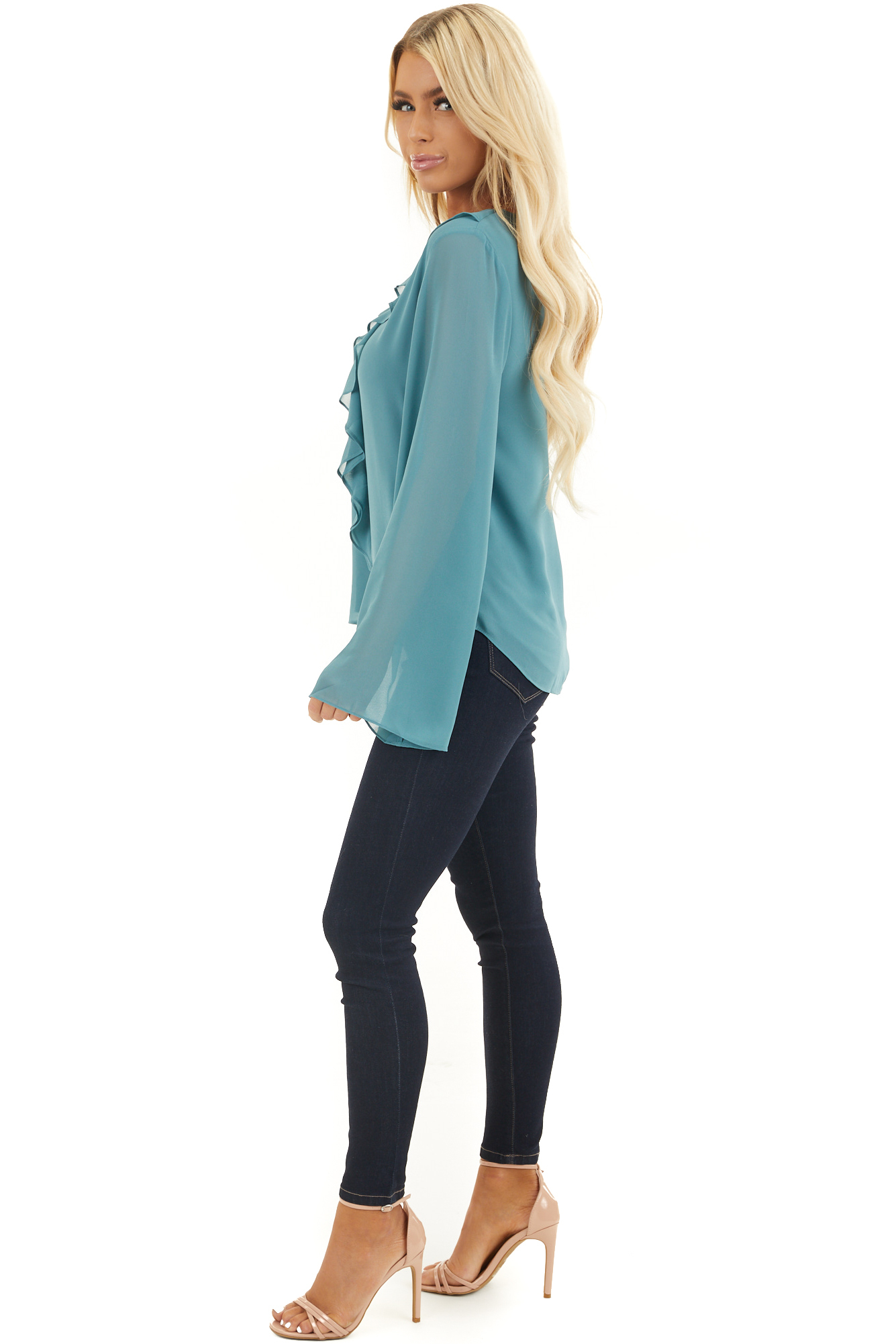 Dusty Ocean Long Flare Sleeve Blouse with Ruffle Details
