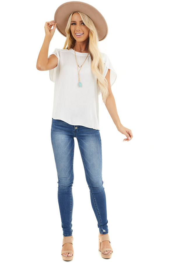 Off White Short Sleeve Blouse with Button Up Back Detail front full body