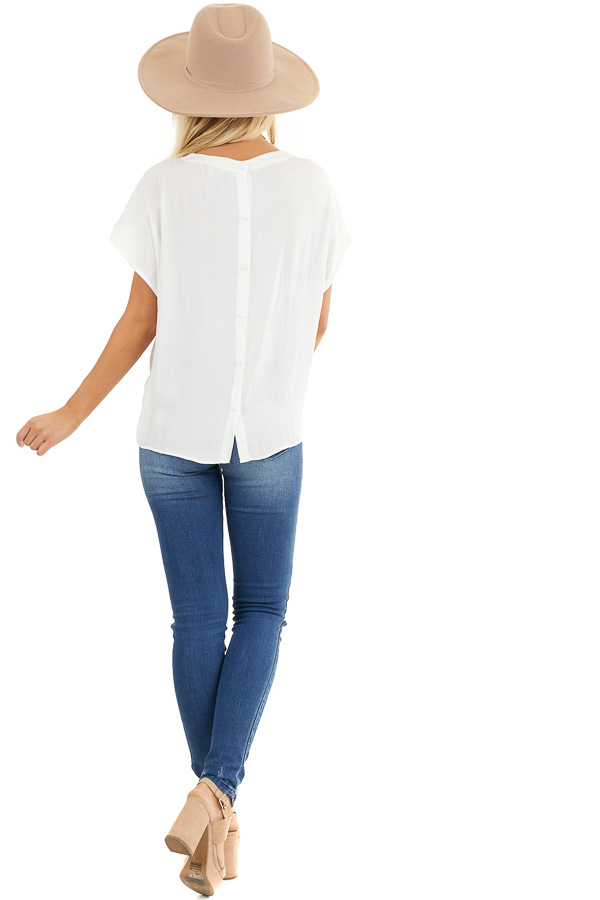 Off White Short Sleeve Blouse with Button Up Back Detail back full body