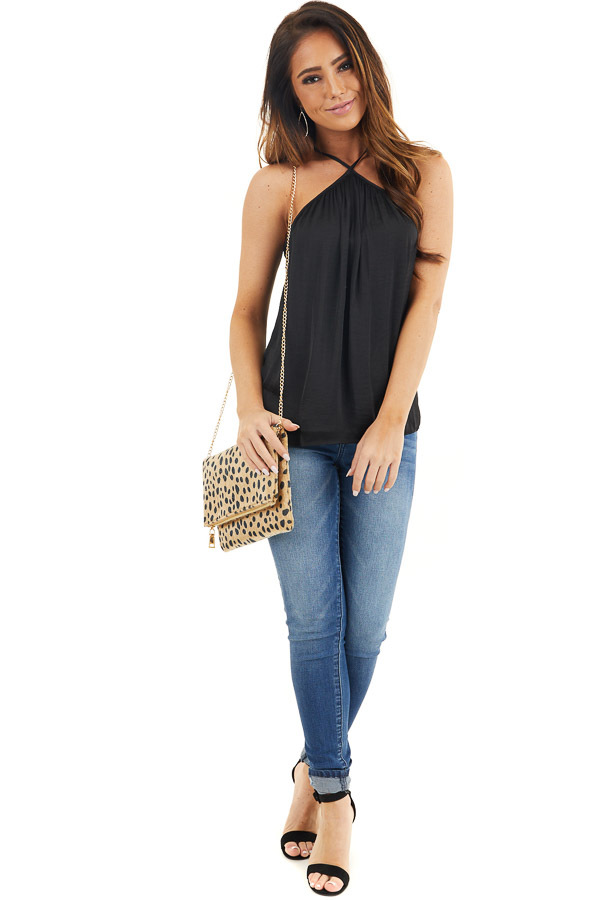 Black Sleeveless Halter Neck Blouse with Pleated Details front full body