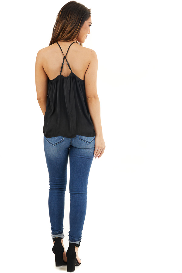 Black Sleeveless Halter Neck Blouse with Pleated Details back full body