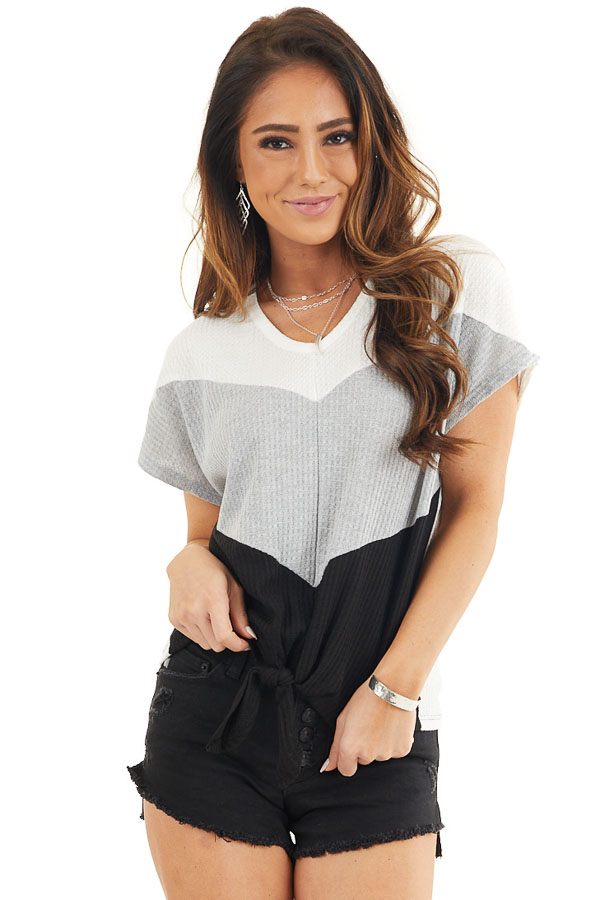 Heather Grey and Black Colorblock Waffle Knit V Neck Top front close up