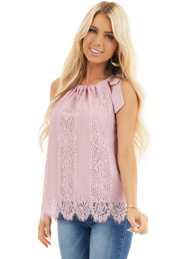 Dusty Blush Lace Tank Top with Tie Strap and Scalloped Hem front close up