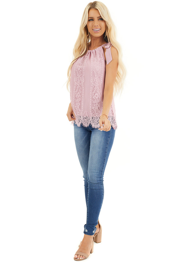 Dusty Blush Lace Tank Top with Tie Strap and Scalloped Hem front full body