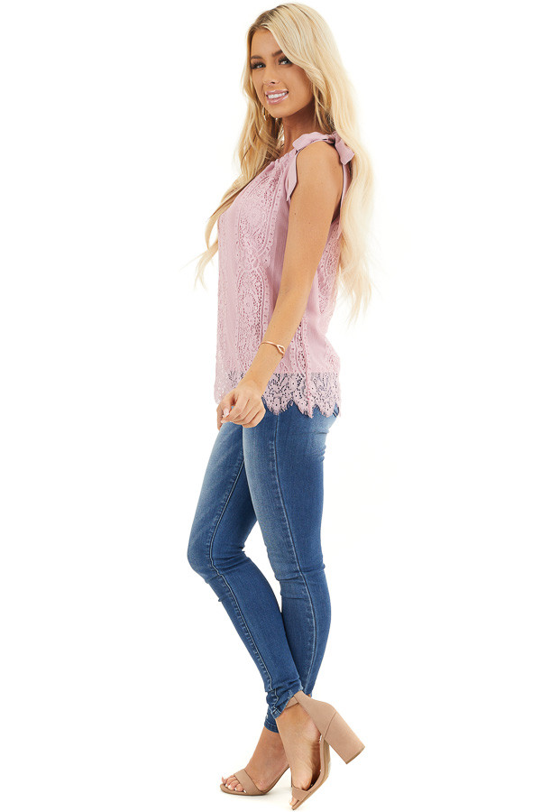 Dusty Blush Lace Tank Top with Tie Strap and Scalloped Hem side full body