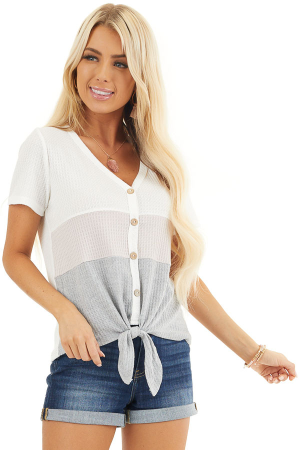 Heather Grey and Blush Colorblock Waffle Knit V Neck Top front close up