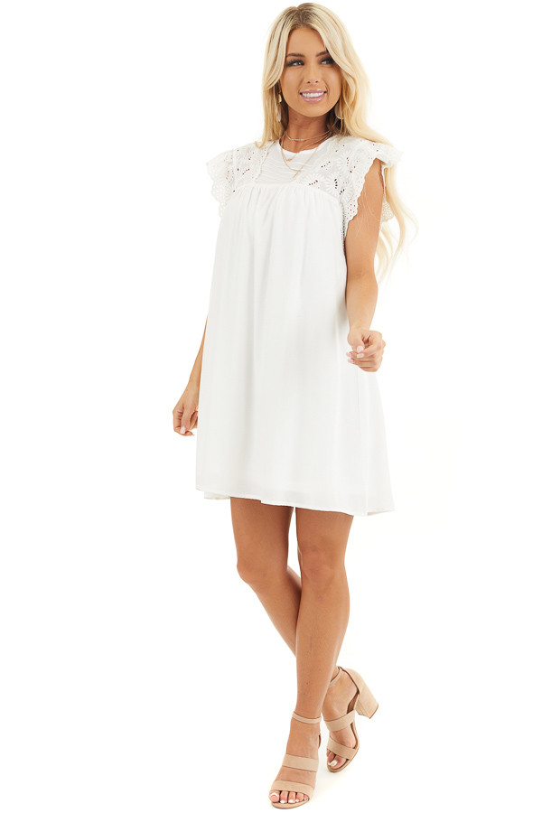 White Short Sleeve Babydoll Dress with Eyelet Detail front full body
