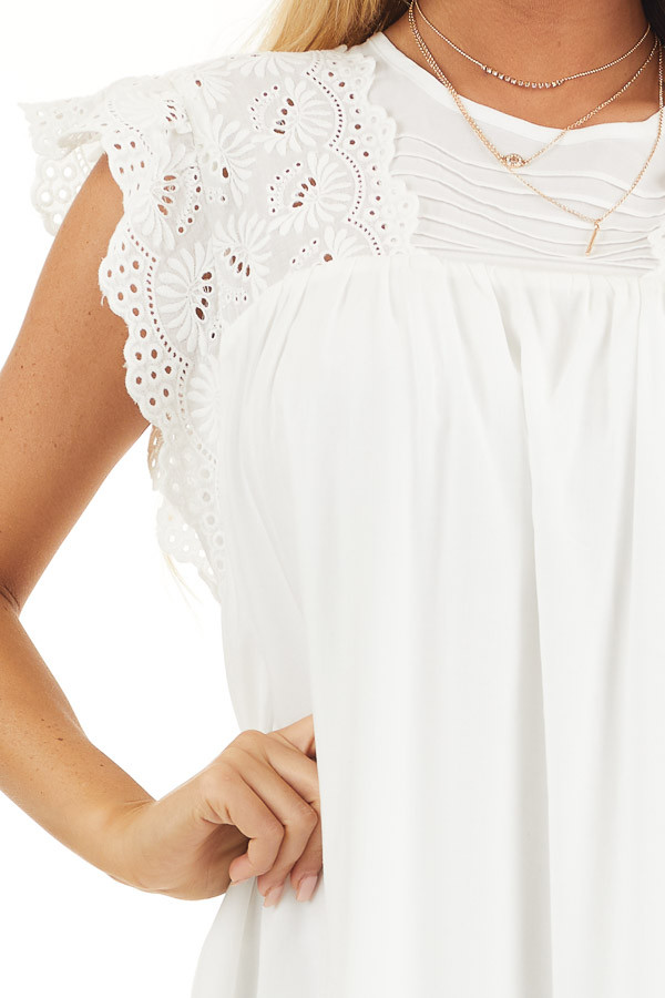 White Short Sleeve Babydoll Dress with Eyelet Detail detail