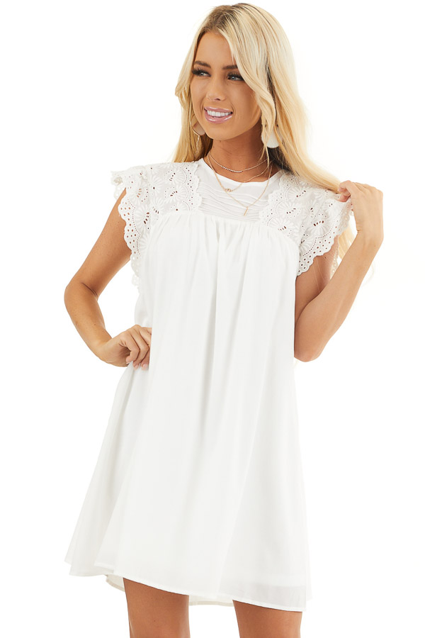 White Short Sleeve Babydoll Dress with Eyelet Detail front close up