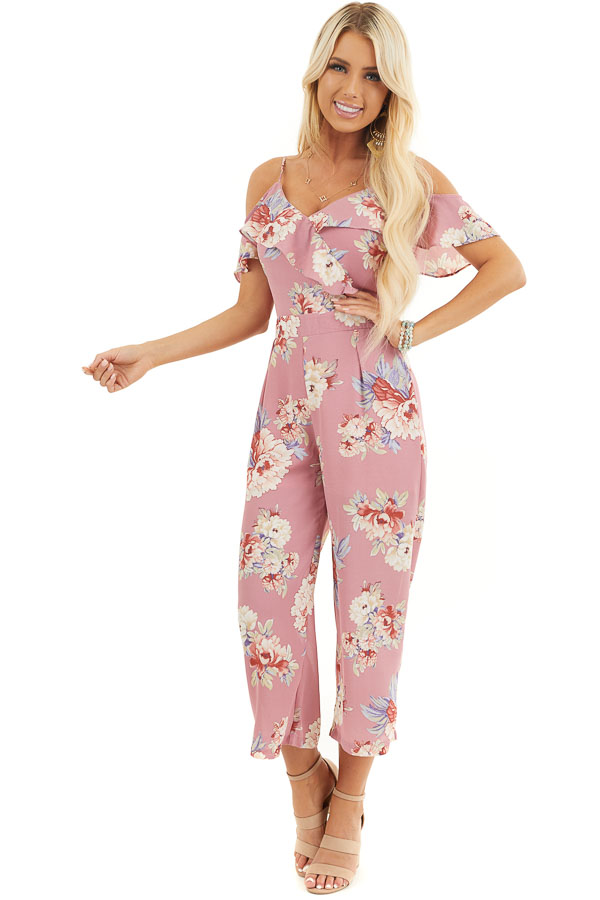 Mauve Floral Print Cold Shoulder Jumpsuit with Ruffle Detail front full body