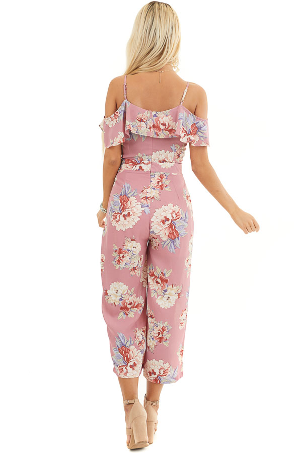 Mauve Floral Print Cold Shoulder Jumpsuit with Ruffle Detail back full body