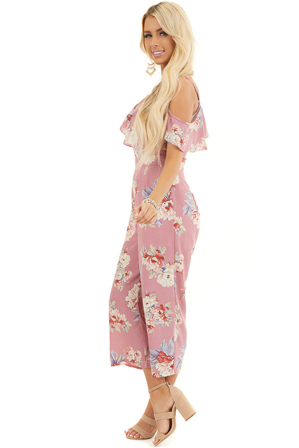 Mauve Floral Print Cold Shoulder Jumpsuit with Ruffle Detail side full body