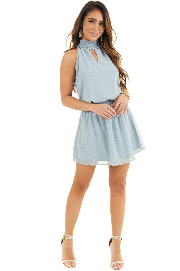 Dusty Blue Sleeveless Swiss Dot Dress with Smocked Details front full body