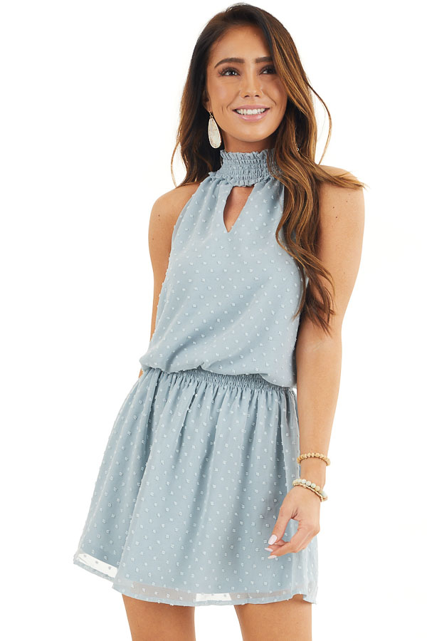 Dusty Blue Sleeveless Swiss Dot Dress with Smocked Details front close up