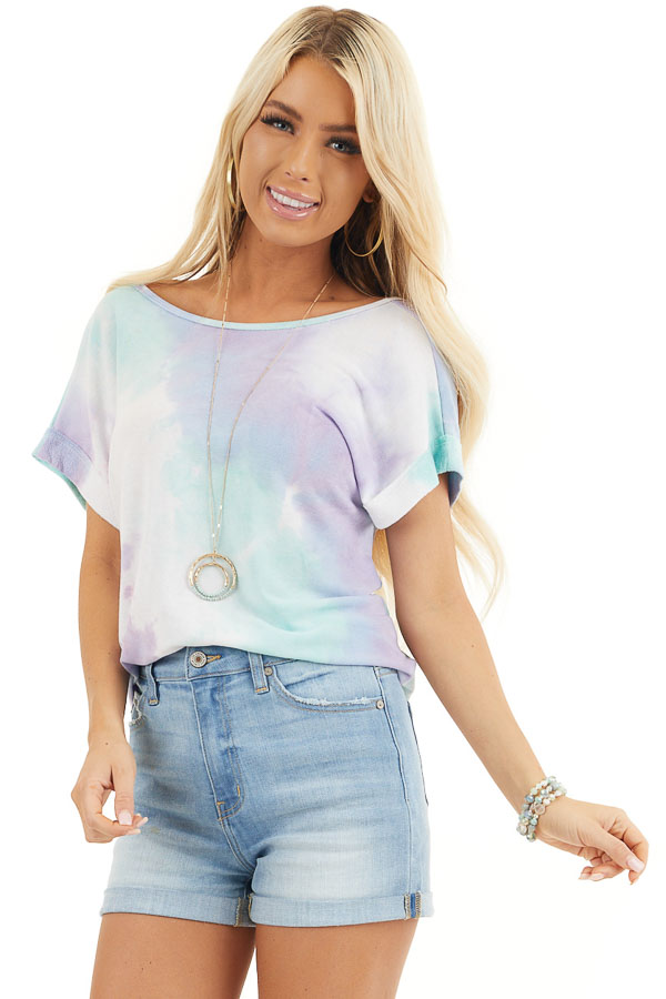 Multicolor Tie Dye Short Sleeve Knit Top with Twist Detail front close up