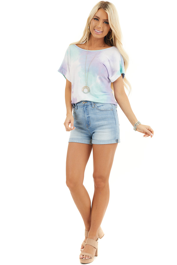 Multicolor Tie Dye Short Sleeve Knit Top with Twist Detail front full body