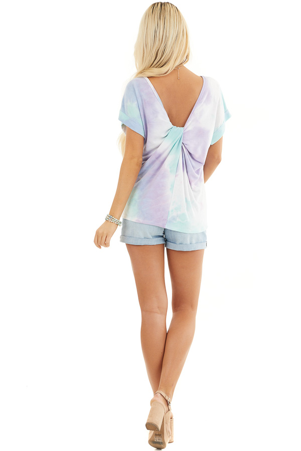 Multicolor Tie Dye Short Sleeve Knit Top with Twist Detail back full body