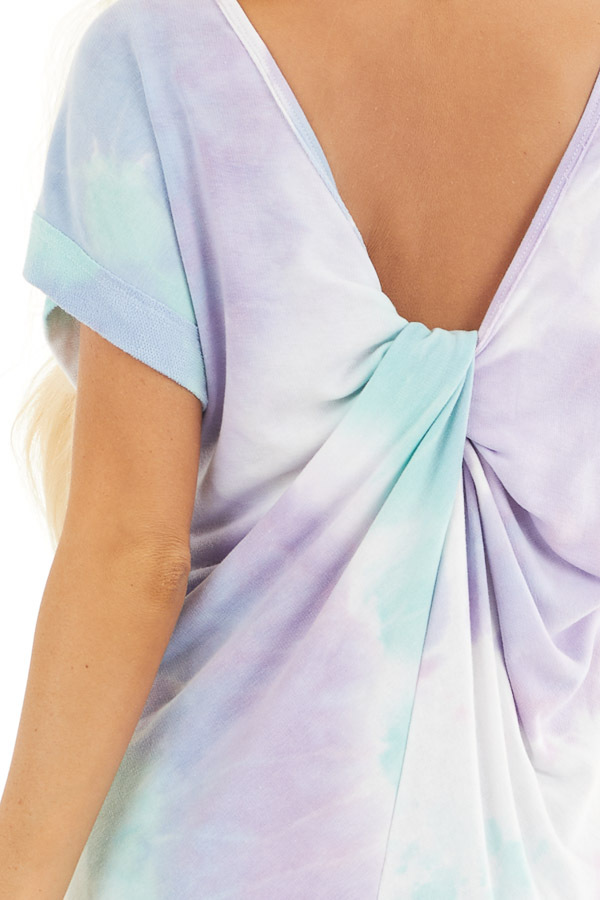 Multicolor Tie Dye Short Sleeve Knit Top with Twist Detail detail