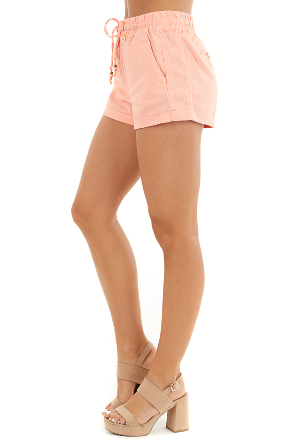Coral Mid Rise Smocked Shorts with Pockets and Drawstring side view