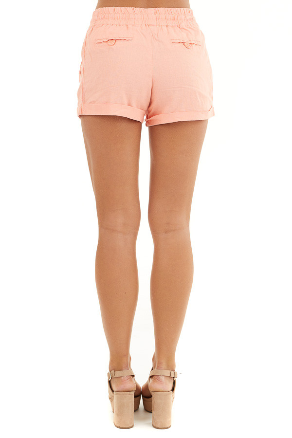 Coral Mid Rise Smocked Shorts with Pockets and Drawstring back view