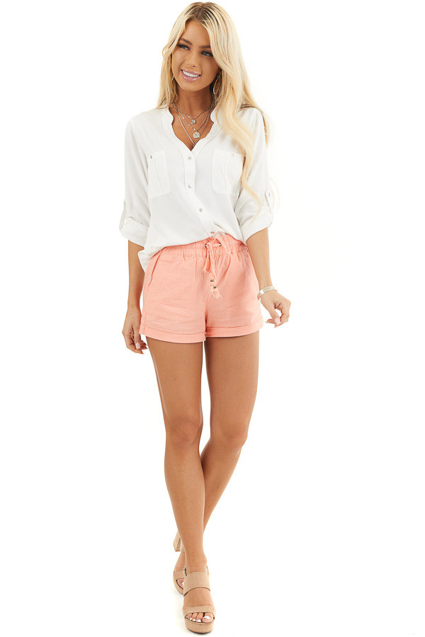 Coral Mid Rise Smocked Shorts with Pockets and Drawstring front full body