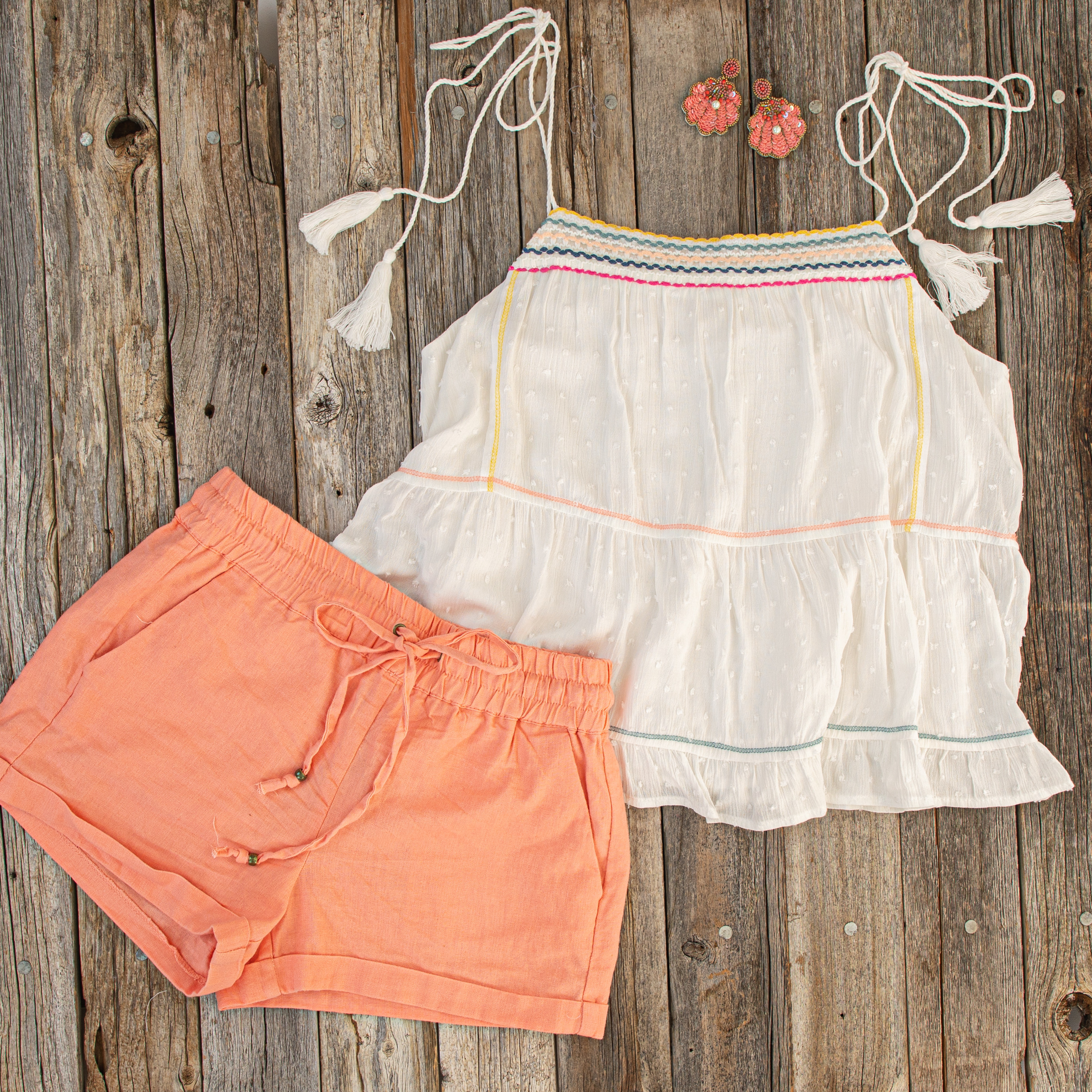 Coral Mid Rise Smocked Shorts with Pockets and Drawstring