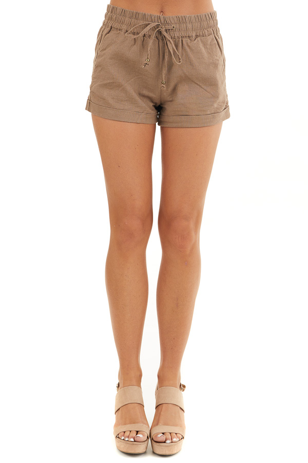 Mocha Mid Rise Smocked Shorts with Pockets and Drawstring front view