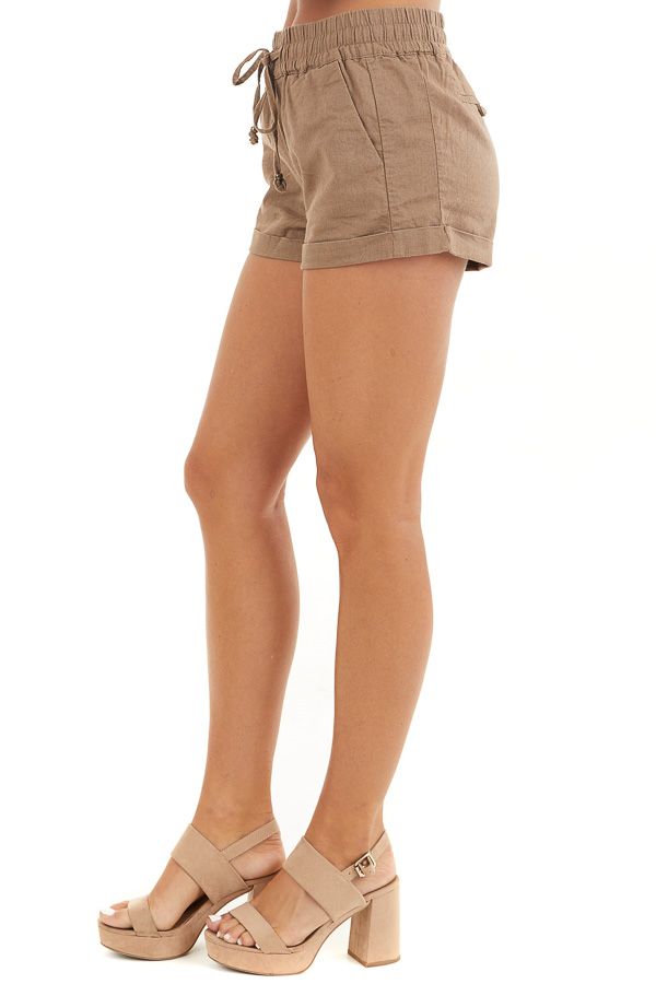 Mocha Mid Rise Smocked Shorts with Pockets and Drawstring side view