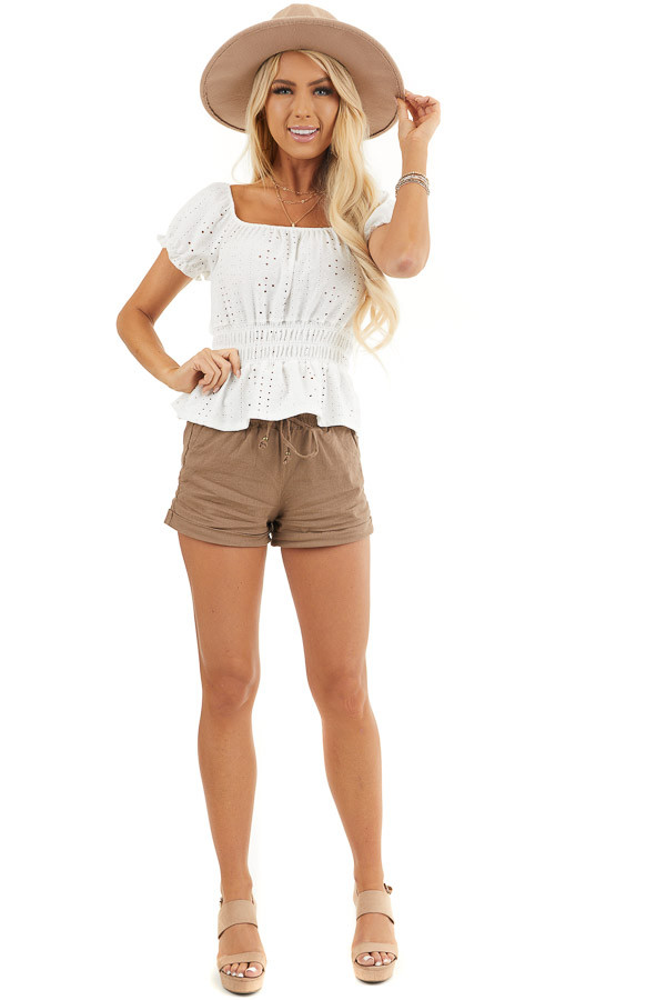 Mocha Mid Rise Smocked Shorts with Pockets and Drawstring front full body
