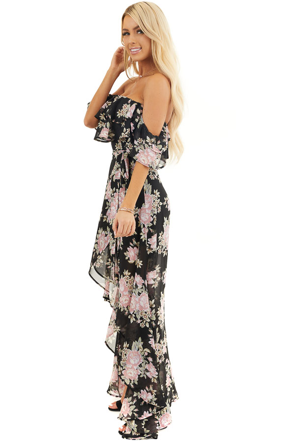 Black Floral Off the Shoulder High Low Dress with Waist Tie side full body