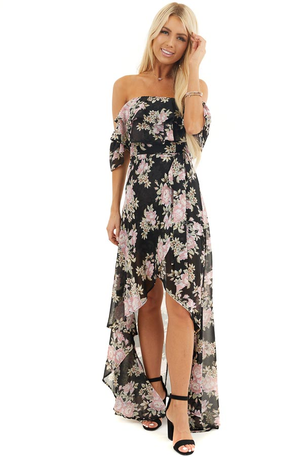 Black Floral Off the Shoulder High Low Dress with Waist Tie front full body