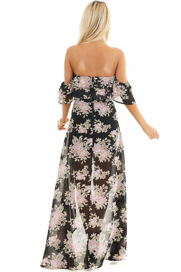 Black Floral Off the Shoulder High Low Dress with Waist Tie back full body