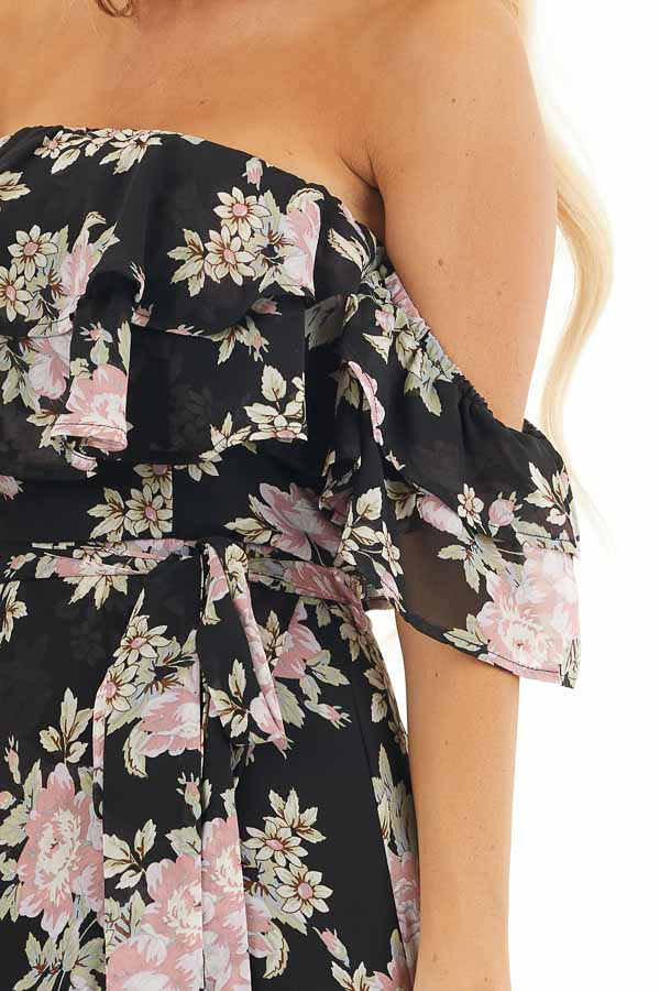 Black Floral Off the Shoulder High Low Dress with Waist Tie detail